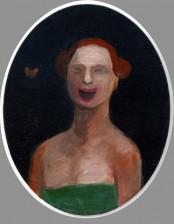 Happy Face, oval, 10X20 cm, oil on cardboard, 2009