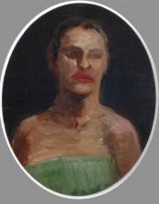 Not Happy Face, oval, 10X 20 cm, oil on cardboard, 2009