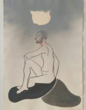 Wise man, ca. 46x56 cm, charcoal/ crayon/ gouache, spraypaint/ paper, 2014